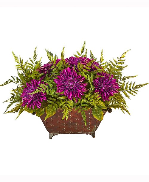 Nearly Natural 24in. Dahlia and Fern Artificial Arrangement in Metal Planter
