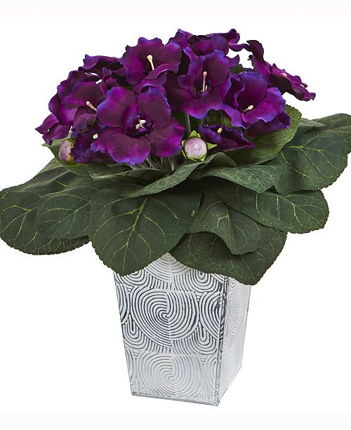 Nearly Natural 13in. Gloxinia Artificial Plant in Embossed White Planter