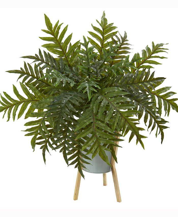 Nearly Natural - 26in. Hares Foot Fern Artificial Plant in Green Planter with Stand Real Touch