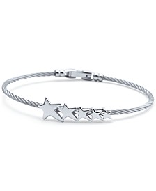 Graduated Star Cable Bracelet in Stainless Steel & Sterling Silver