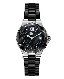Gc Women's Structura Lady Black Ceramic Bracelet Watch 36mm