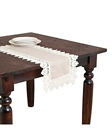 """Lace Trimmed Table Linens, 16"""" x 72"""""""