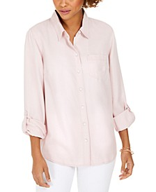 Petite Cuffed-Sleeve Blouse, Created For Macy's
