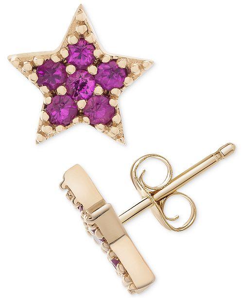 Macy's Certified Ruby Star Stud Earrings (1/4 ct. t.w.) in 14k Gold