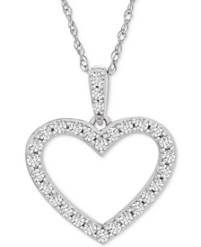 "Diamond Heart Pendant Necklace (1/2 ct. t.w.) in 14k White Gold, 18"" + 2"" extender"