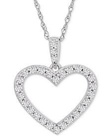 "Diamond Heart Pendant Necklace (1/2 ct. t.w.) in 14k White Gold, 18"" + 2"" extender"