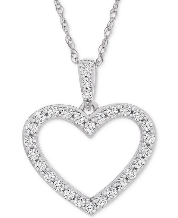"Macy's Diamond Heart Pendant Necklace (1/2 ct. t.w.) in 14k White Gold, 18"" + 2"" extender"