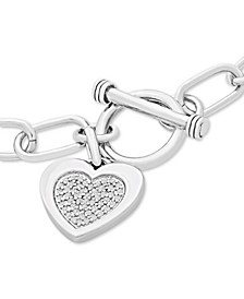Diamond Heart Charm Toggle Bracelet (1/4 ct. t.w.) in Sterling Silver