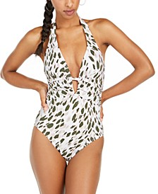 Brush Stroke Printed Tummy-Control One-Piece Swimsuit