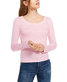 Juniors' Pointelle-Knit Crew-Neck Top