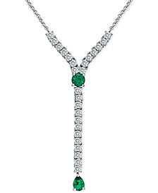 """Lab-Created Green Quartz & Cubic Zirconia 18"""" Necklace in Sterling Silver"""