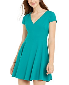Juniors' Scalloped-Neck Dress
