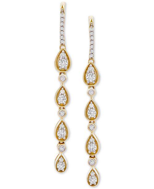 Wrapped in Love Diamond Teardrop Dangle Drop Earrings (1 ct. t.w.) in 14k Gold, Created For Macy's