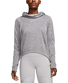 Women's Metallic Logo Funnel-Neck Training Top
