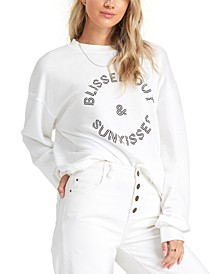 Juniors' Blissed Out Graphic-Print Fleece Sweatshirt