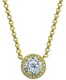 "Cubic Zirconia Halo Pendant Necklace in 18k Gold-Plated Sterling Silver, 16"" + 2"" extender, Created for Macy's"