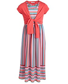 Little Girls 2-Pc. Tie-Front Cardigan & Striped Maxi Dress Set