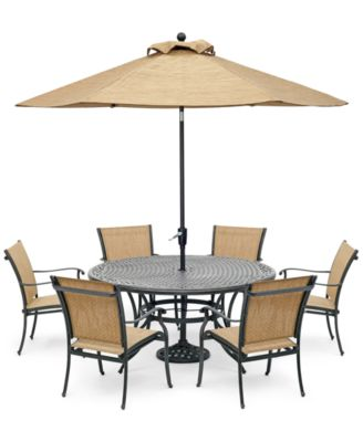 """Beachmont II Outdoor 7-Pc. Dining Set (60"""" Round Table and 6 Dining Chairs), Created for Macy's"""