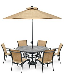 "Beachmont II Outdoor 7-Pc. Dining Set (60"" Round Table and 6 Dining Chairs), Created for Macy's"