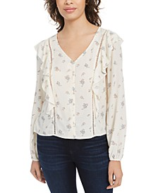 Juniors' Floral Ruffle Top