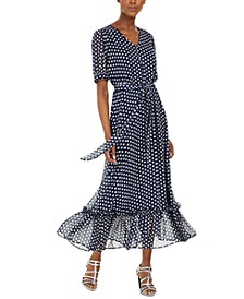 Belted Polka Dot Peasant Dress