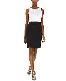 Calvin Klein Petite Embellished Colorblocked Sheath Dress