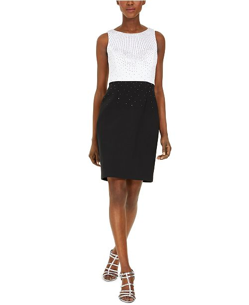 Calvin Klein Petite Embellished Colorblocked Sheath Dress