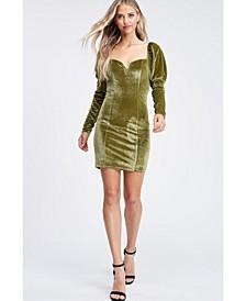 Long Sleeve Square Neck Mini Knit Dress