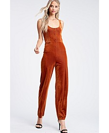 Sleeveless Button Placket Fitted Knit Jumpsuit