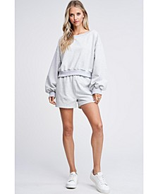French Terry Long Sleeve Knit Top