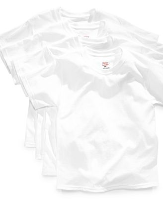 Hanes Platinum Boys' or Little Boys' 4-Pack White Cotton Undershirt Tees