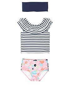 RuffleButts Toddler, Little and Big Girls Ruffled Tankini 2-Piece Swimsuit Swim Headband Set