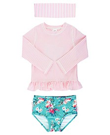 Little Girls Long Sleeve Rash Guard 2-Piece Swimsuit Swim Headband Set