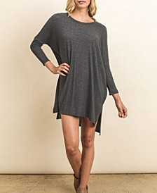 Solid Style 3/4 Sleeve Tunic Shirt Dress