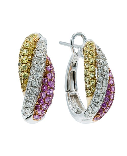Macy's Yellow Sapphire (5/8 ct. t.w.) and Pink Sapphire (5/8 ct. t.w.) and Diamonds (5/8  ct. t.w.) Earrings Set in 14k White Gold