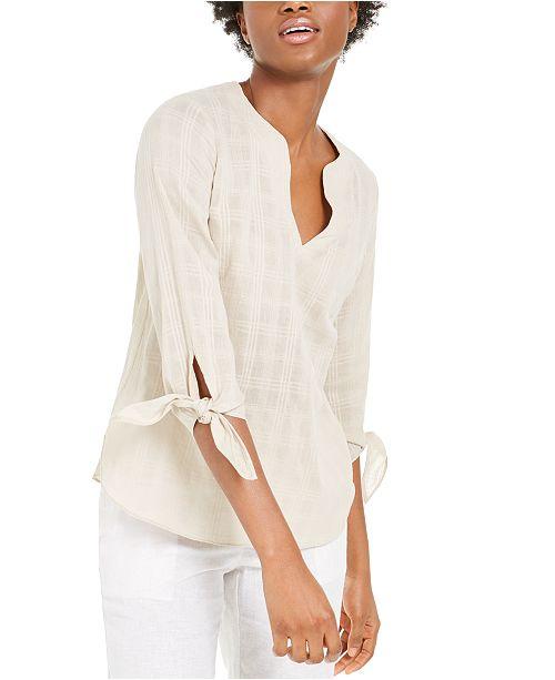 Michael Kors Cotton Tie-Sleeve Top