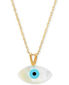 "Mother-of-Pearl & Enamel Evil Eye 18"" Pendant Necklace in 10k Gold"