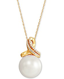 """Cultured White Ming Pearl (13mm) & Diamond (1/10 ct. t.w.) 18"""" Pendant Necklace in 14k Gold"""