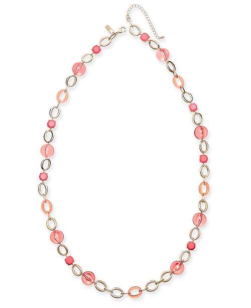 """INC International Concepts INC Gold-Tone Stone & Bead Strand Necklace, 35-1/2""""+ 3"""" extender, Created for Macy's"""