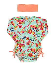 Toddler, Little and Big Girl's Long Sleeve Rash Guard Swimsuit Swim Headband Set