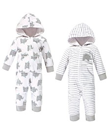 Baby Boy and Girl Fleece Jumpsuits, 2 Pack