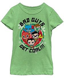 DC Comic's Big Girl's Kawaii Justice League Bad Guys Get Coal Short Sleeve T-Shirt
