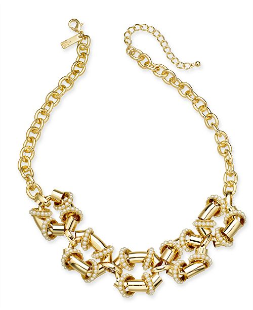 """INC International Concepts INC Gold-Tone Pavé Link Statement Necklace, 18"""" + 3"""" extender, Created For Macy's"""