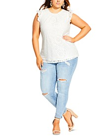 Trendy Plus Size Ornamental Lace Top