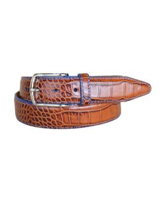 Lejon Single Stitched Italian Calfskin Alligator Embossed Leather Dress Belt