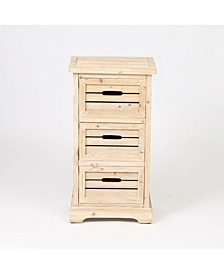 Natural 3 Drawer Small Cabinet