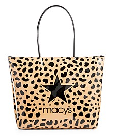 Camel Leopard-Print Logo Tote Bag, Created for Macy's