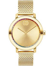 Women's Swiss Bold Evolution Gold Ion-Plated Stainless Steel Mesh Bracelet Watch 34mm
