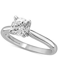 Bliss Monique Luhillier Diamond Pavé Petal Solitaire Engagement Ring (1-1/2 ct. t.w.) in 14k White Gold