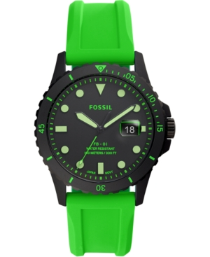 Fossil Jewelry MEN'S FB-01 GREEN SILICONE STRAP WATCH 42MM